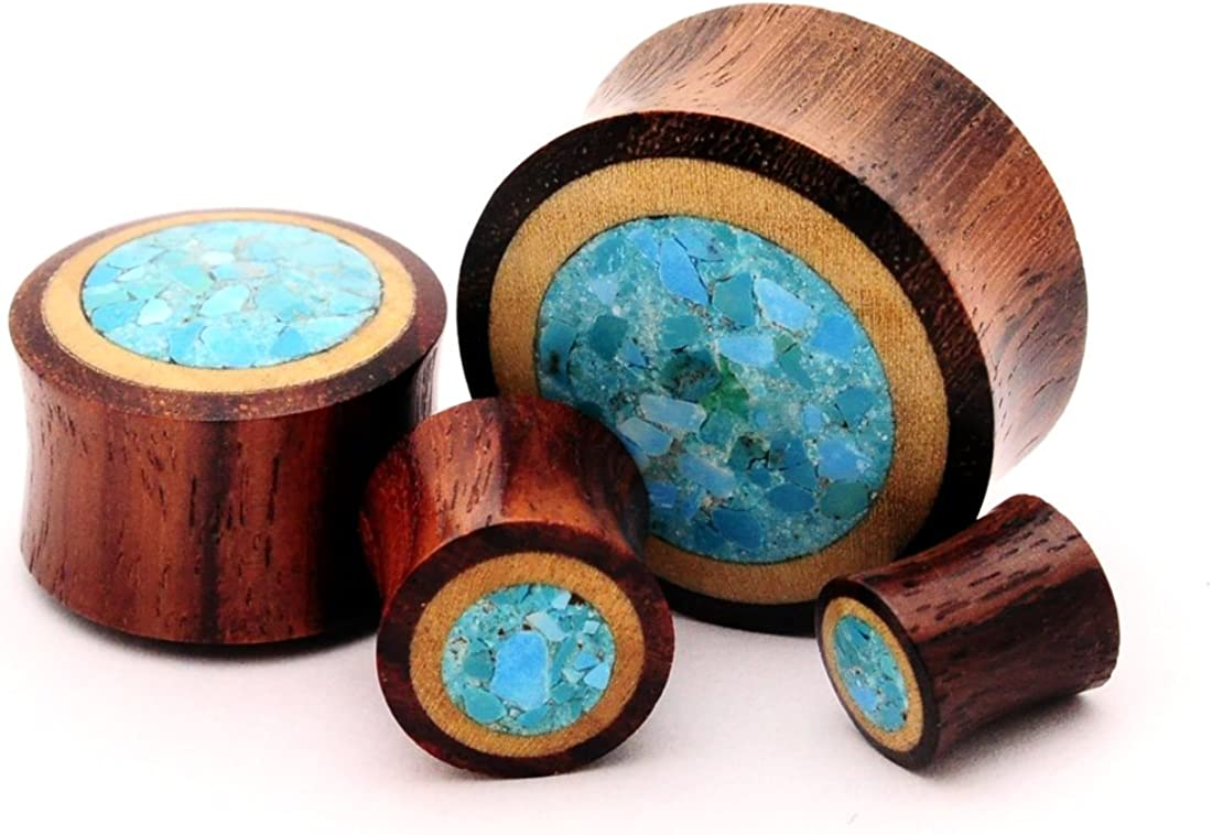 Mystic Metals Body Jewelry Pair of Sono Wood with Crushed Turquoise Stone Inlay - 0g - 8mm - Sold As a Pair