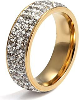 Women Stainless Steel Eternity Ring CZ Cubic Zirconia Circle Round,Gold Plated,7mm Width