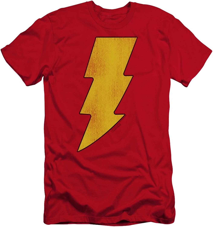 Dc - Mens Shazam Logo Distressed Premium Slim Fit T-Shirt