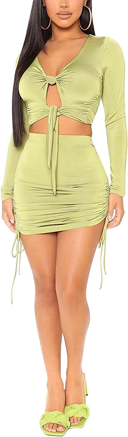 DINGANG Women's Sexy Two Piece Off Shoulder Dress Bodycon Mini Skirts Outfits Short Sleeve Clubwear