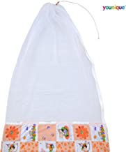 Younique Mosquito Net for Baby Cradle/Mosquito Net for Baby Jhula/Baby Swing with Side Zip Opening (0-3 yrs) - Orange & White
