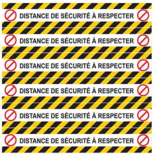 Aufkleber für Boden, 6 Streifen, Covid-19 Sicherheitsabstände (Version L, 6 Distanzstreifen)