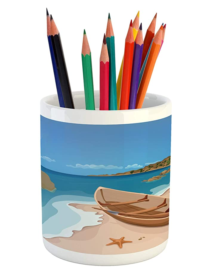 Lunarable Oars Pencil Pen Holder, Scenic Cartoon Landscape with Sea Rocks Sky Starfish and Wooden Boat on Sandy Shore, Printed Ceramic Pencil Pen Holder for Desk Office Accessory, Multicolor