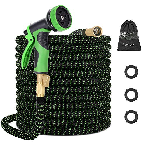LETIME Expandable Garden Hose 100 Feet, Durable Water Hose with 9-Way Spray Nozzle and 3/4 inch Solid Brass Fittings, for Lawn Watering and Car Washing