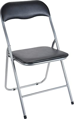 Rammento - Sedia pieghevole con seduta imbottita nera e struttura in metallo argentato