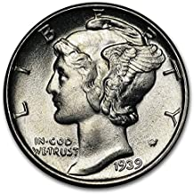 1939 Gem Brilliant Uncirculated Silver Mercury Dime Choice BU