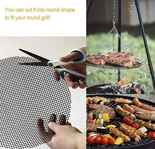 Grille de cuisson en maille antiadhésive - Réutilisable - Pour barbecue - Pour cuisson Lot de 5 - Couleur : marron 3 pièces dans un bord noir.