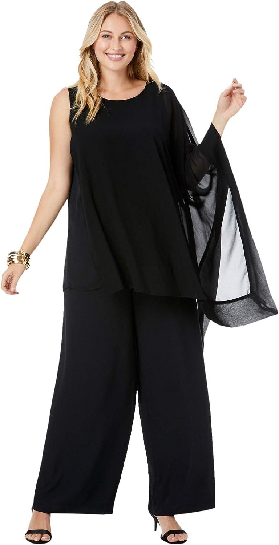 Jessica London Women's Plus Size 2-Piece Pant Set Asymmetrical Georgette Set