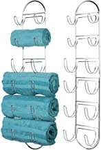 mDesign Wall Mount Metal Wire Towel Storage Shelf Organizer Rack Holder with 6 Compartments, Shelves for Bathroom Towels - 2 Pack - Chrome