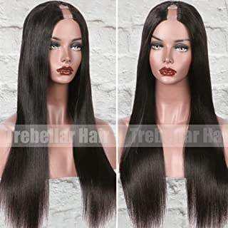 Silky Straight 1X4 U Part Wigs with Combs Remy Human Hair Wigs for Black Women Straight Human Hair Wigs 130% Density Natural Color 14