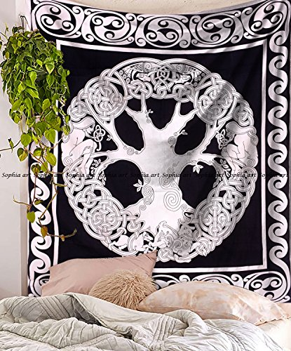 Sophia-Art Black&White Celtic Tree of Life Tapestry, Tree of Life Hippie Tapestries Wall Hanging, Cotton Bedspread Bed Sheet Cover, Bohemian Boho Coverlet