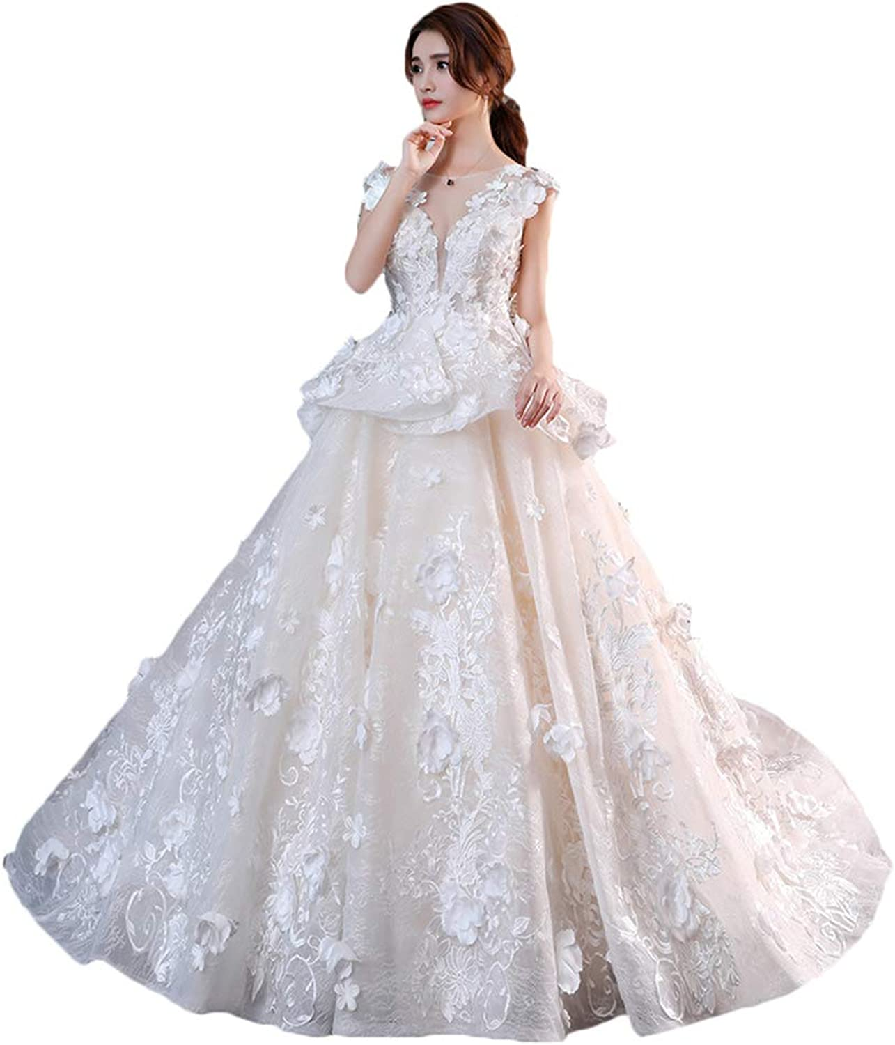 Baixia Flower Princess Wedding Dresses Lace Bridal Gowns with Long Train