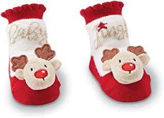 Mud Pie Christmas Boy Girl Rattle Toe Socks 0-12 mo - Reindeer Or Santa