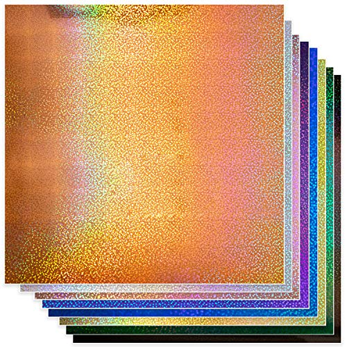Permanent Glitter Vinyl for Cricut (8pk, 12 x 11 Inch) Sparkle Holographic Vinyl Adhesive Sheets for Oracle 651 with Metallic Rainbow Effect (Gold, Pink, Blue, Black, Silver, Purple, Green, Orange)