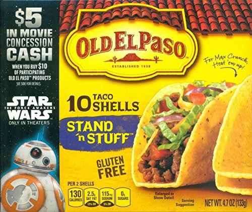 Old El Paso Stand 'n Stuff Taco Shells Gluten Free, 4.7-Ounce Boxes (pack of 3)