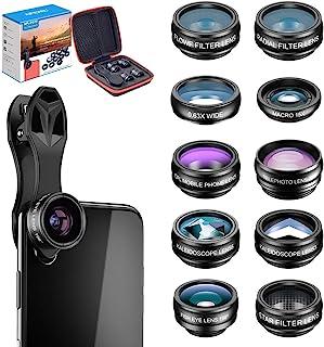 Apexel 10 in 1 Cell Phone Camera Lens Kit Wide Angle Lens & Macro Lens+Fisheye Lens+Telephoto Lens+CPL/Flow/Radial/Star Fi...