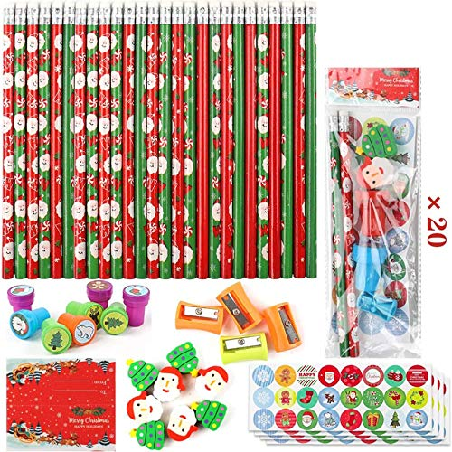 Cocoboo 20 Set Christmas Holiday Pencil with Eraser Toppers for Writing and Drawing, Christmas Gift Party Favors Prize for Kids with Seals, Stickers and Pencil Sharpener