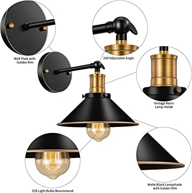 Feanron Black Wall Sconce, Industrial Wall Lighting Outdoor Arm Swing Wall Lights Rustic Wall Lamps for Bedrooms Barn Hallway