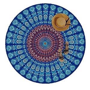Manfâ Indian Feather Mandala Toalla De Playa PortáTil Redonda 150 Cm Resistente A La Arena SúPer Ligeray De Secado RáPido Ideal Para De Tapices