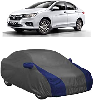 NEXTON Presents Water Resistant Polyester Fabric Car Body Cover for Honda City with Mirror Pockets (Grey & Blue Design)