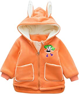 DOLYKUI 0-4 Years Baby Coat, Children Kids Winter Warm Cartoon Girls Zipper Jacket Hooded Coat Tops, Kids Christmas Valentine's Day Winter Long Sleeve Clothes