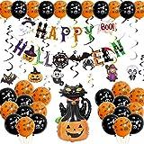 Happy Halloween Banner,Halloween Decoración Globos,Decoración de Espiral de Halloween,Halloween Decoración de Fiesta Set,Remolino Colgante de Fiesta de Halloween para Decoración de Hogar Halloween (A)