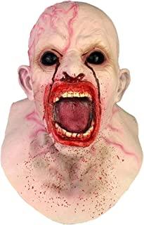 WEIWEI Halloween Scary Cosplay Mask, Horror Screaming Infected Zombie Latex Mask Halloween Accessory (Blood Face)
