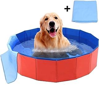 犬 プール ペット用バスグッズ バスプール バスタブ 折り畳み PVC複合素材 耐磨 防水 底面水抜き栓付き 夏 猫 小型犬 中型犬 お風呂ために 屋内屋外用 80*20サイズ