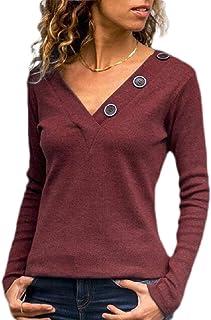 GAGA المرأة سليم صالح الأساسية الخامس الرقبة زر الديكور طويلة الأكمام تي شرت الأعلى بلوزة المحملة