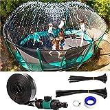 Home U Trampolín aspersor exterior, juego de agua, trampolín, parque acuático, aspersor, Summer Water Fun, pulverizador para niños, negro, 15 m
