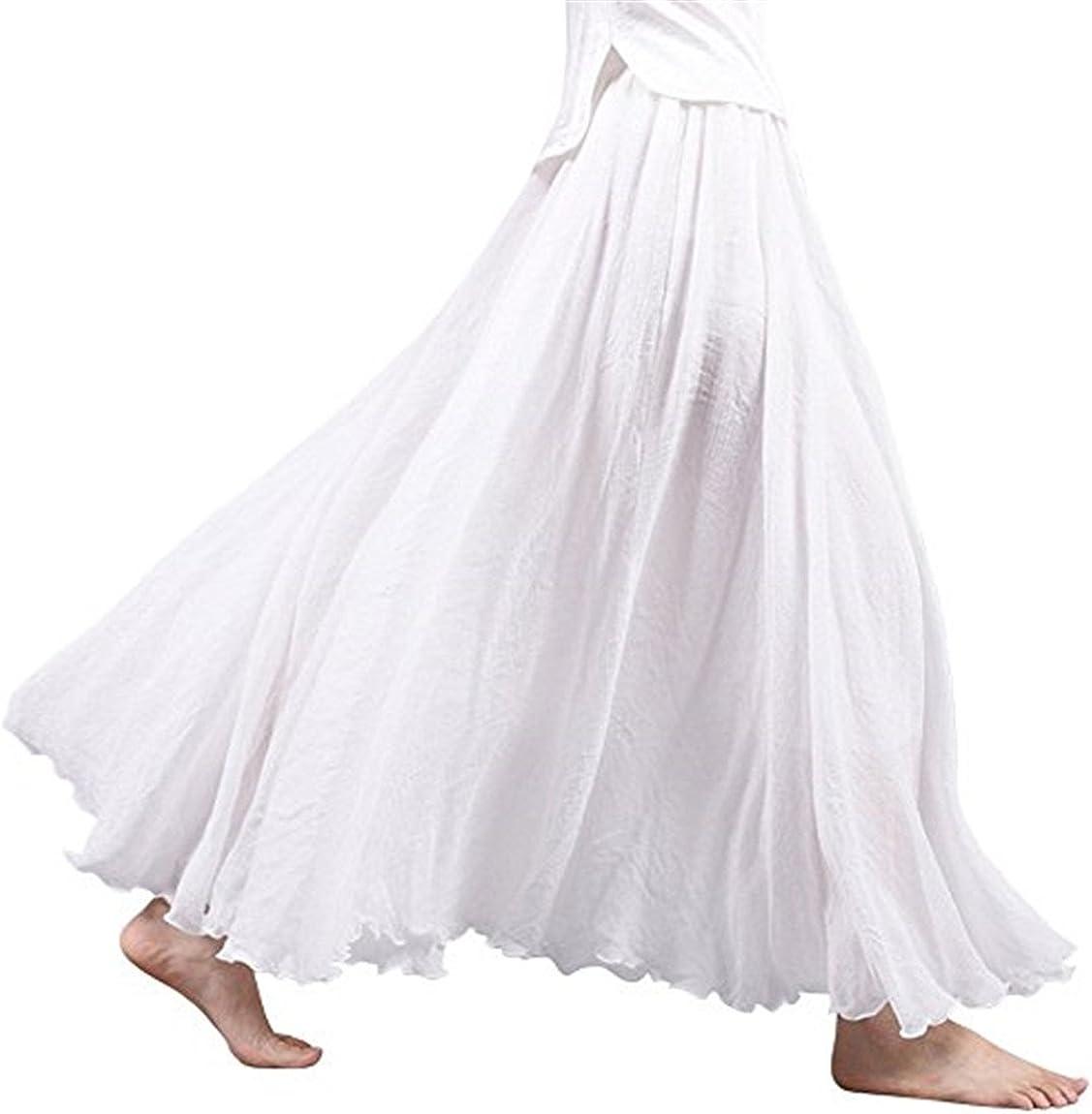 SERAIALDA Women's Elastic Waist Bohemian Style Solid Color Band Cotton Linen Long Maxi Skirt Dress
