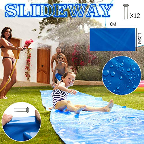 Review Mousmile Water Slide of Water Sports – Backyard Lawn Water Slide Splash Sprint Racing Water Slide Tear Proof Summer Garden Water Party Toy Kids Wave Rider Fun Pool Games,Super Slide (6Mx1.2M)