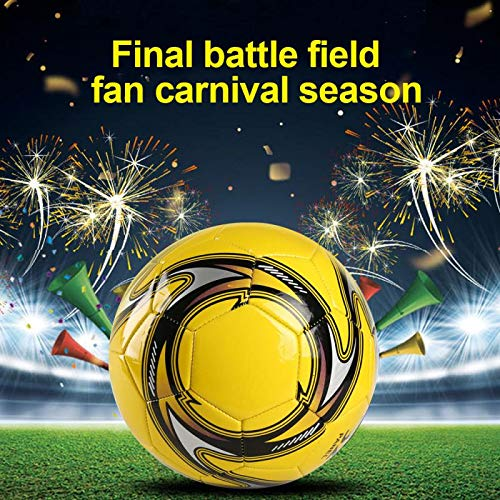 Lonshi PVC+EVA Size 5 Football Soft Lightweight suitable Official Indoor & Outdoor Soccer Ball Professional Match ball (yellow)