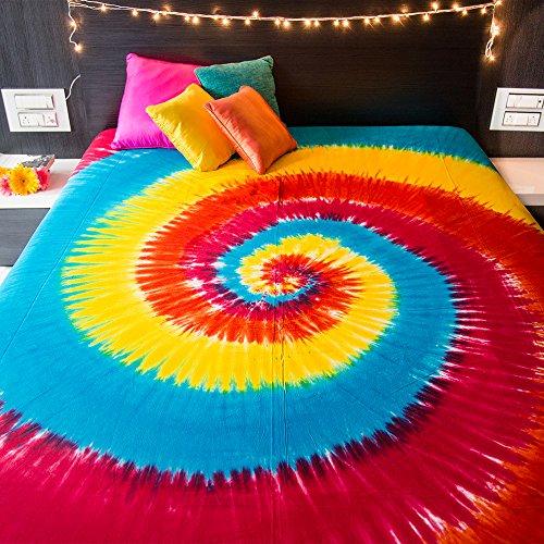 Spiral Tie Dye Tapisserie murale à suspendre Bohème hippie mandala Couvre-lit indien Parure de lit pour chambre à coucher College Dortoir Home Decor Couverture de pique-nique ou de plage – Taille Queen Rainbow Boho Gypsy propagation