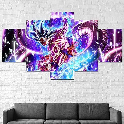 HGYG 5 Pieza Cuadro en Lienzo Dragon Ball Ultra Istinto Goku Cuadros Modernos Impresión de Imagen Artística Digitalizada Lienzo Decorativo