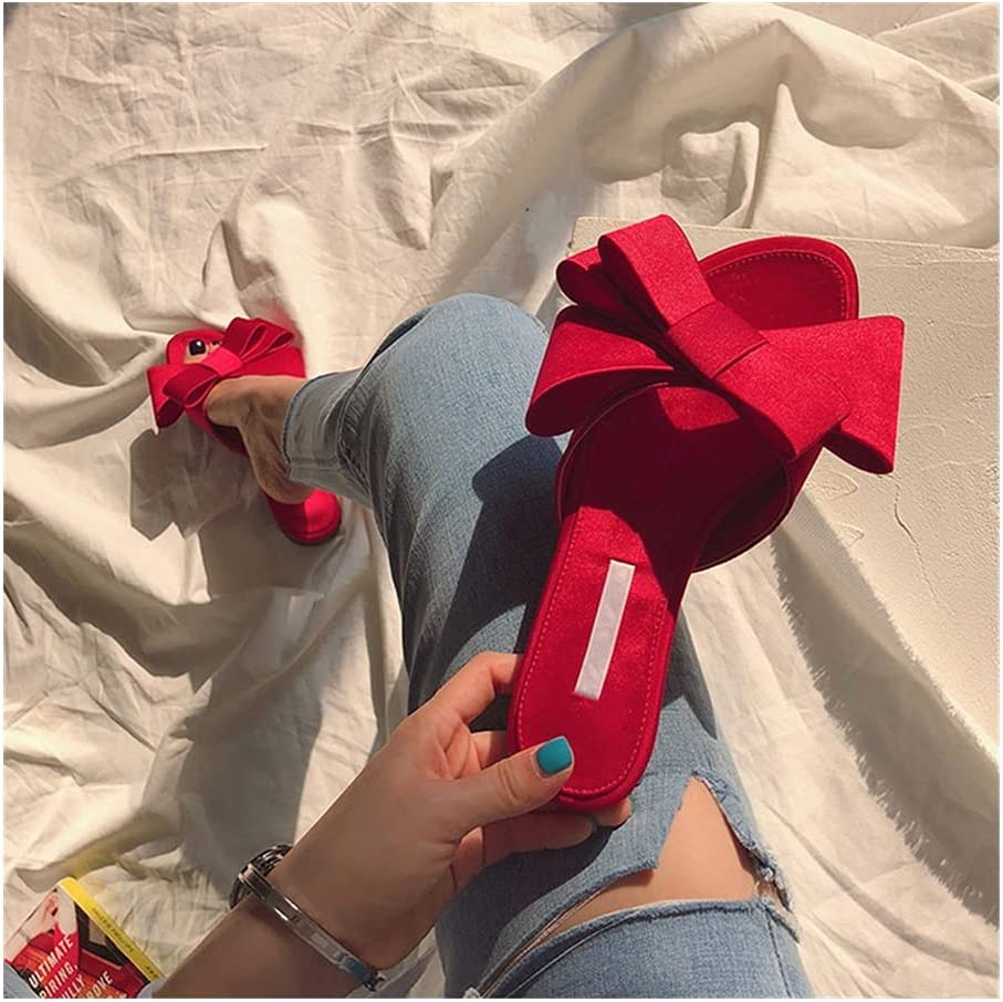 Real Silk Butterfly-Knot Slippers Woman Fashion Shoes Summer Bow Knot Slides Woman Flip Flops (Color : Red(high 1.5cm), Shoe Size : 38)