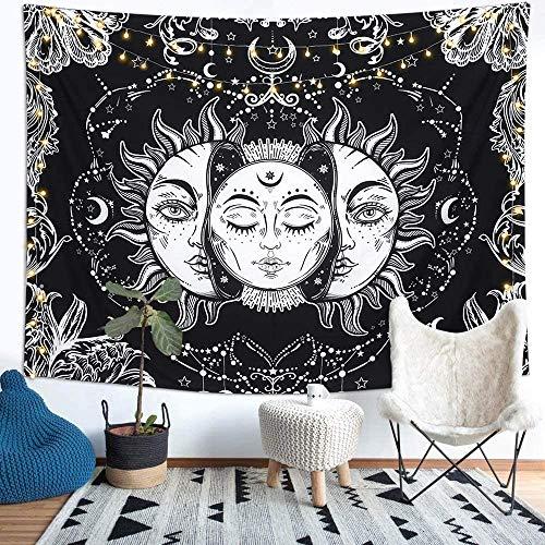 Richaa - Arazzo psichedelico con tarocchi e sole e luna, colore nero, da appendere alla parete per camera da letto, soggiorno, decorazione da parete (130 x 150 cm)