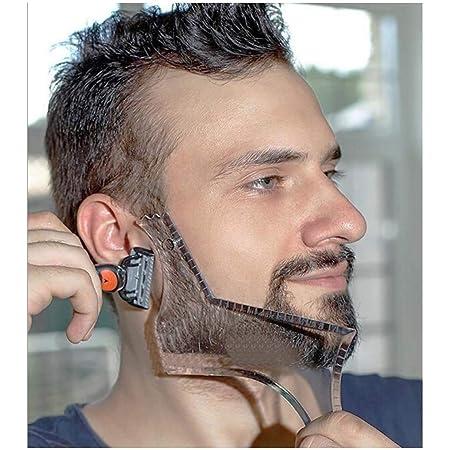 ひげシェーパーテンプレート整形ツール、Lucbuyあごひげのための透明なスタイリングくしステンシルサイドバーン顔の毛のトリミンググルーミングガイド用男性顎の頬のネックライン対称曲線