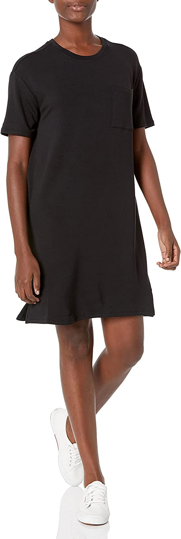 Amazon Brand - Daily Ritual Women's Supersoft Terry Short-Sleeve Boxy Pocket T-Shirt Dress