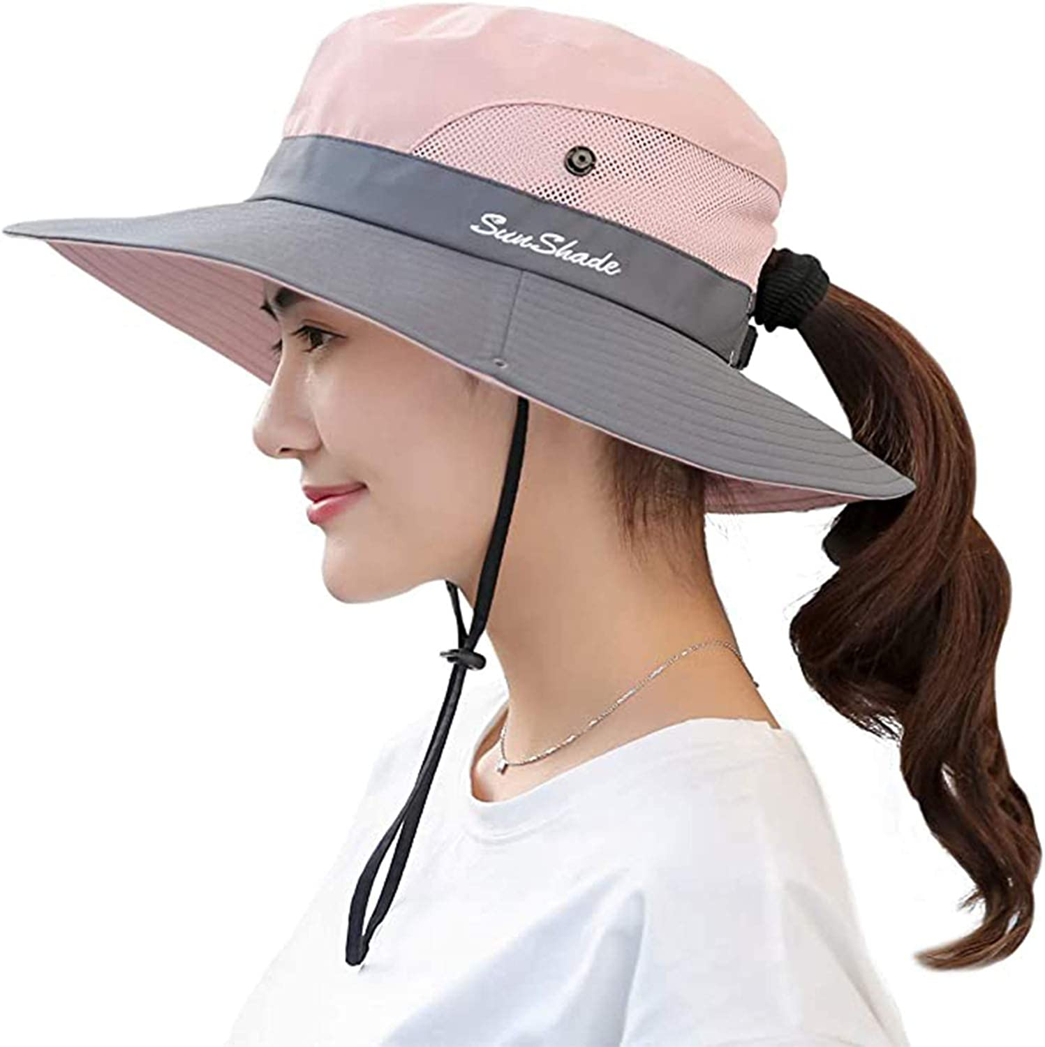 Women's Outdoor UV Protection Summer mesh Wide hat Sun hat with Ponytail Fisherman hat, Suitable for Girls Summer