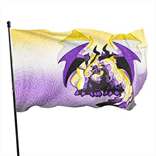 MINIOZE Nonbinary Genderqueer Non Binary Pride Flag Dragon Themed Welcome Party Outdoor Outside Decorations Ornament Picks Home House Garden Yard Decor 3 X 5 Ft Small Flag