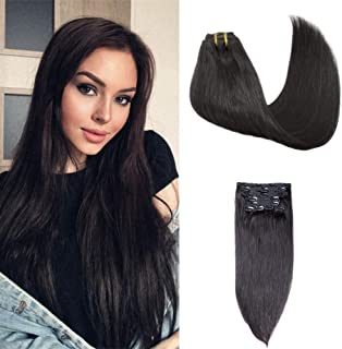Fabeauty Hair Extensions Clip in Remy Human Hair Extensions Clip in Real Hair Extensions Natural Hair Extensions Straight ...
