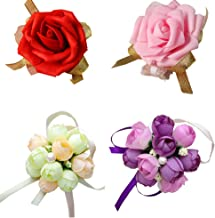 4 Pack Wrist Flower Wristband Girl Bridesmaid Bride Decoration Using Artificial Flowers Lily Rose Champagne Purple Pink Wedding Party Festival Celebrations Wrist Ribbon