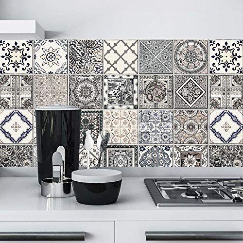 HODORPOWER Tile Stickers 6x6 Inches Backsplash PVC Waterproof Oil proof DIY Kitchen Bathroom Self Adhesive New Wall Stickers Home Decor 24pcs 15x15