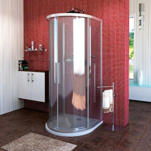 Duschkabine Halbkreis 90x90x200cm Echtglas mit 2 Schiebetüren inkl.Glasbeschichtung