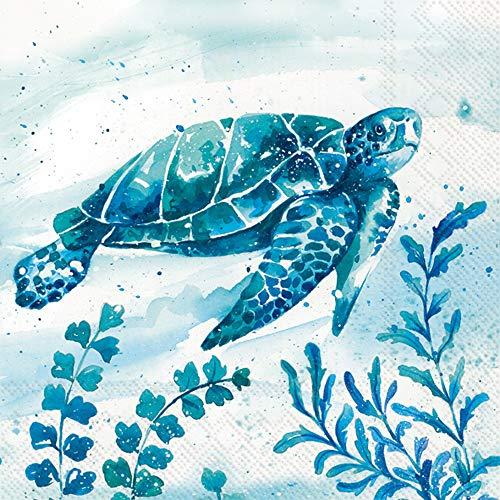 Boston International L849700 - Servilletas de papel, papel, Aquaworld Tortuga de agua, 6.5 x 6.5-Inches