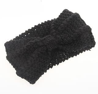 Eforstore Wool Knitted Crochet Bow Winter Headband Ear Warmer Women Lady Girl Hat Headgear Crochet Headband Head Wrap Hairband