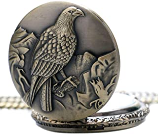 YXZQ Pocket Watch, Antique Big Size Eagle Retro Bronze Watches Necklace Pendant Gift