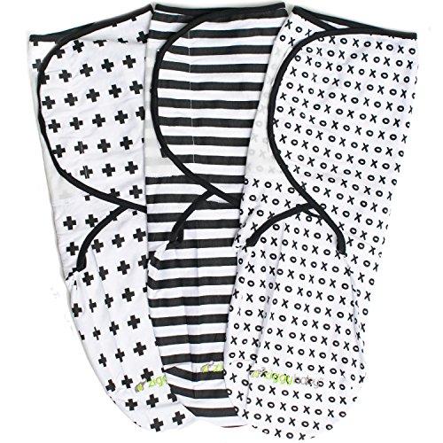 Ziggy Baby juego de 3 mantas para bebés, unisex, ajuste universal– set de mantas ajustables para envolver bebés recién nacidos, para niños y niñas, 100% algodón suave en color negro + blanco.