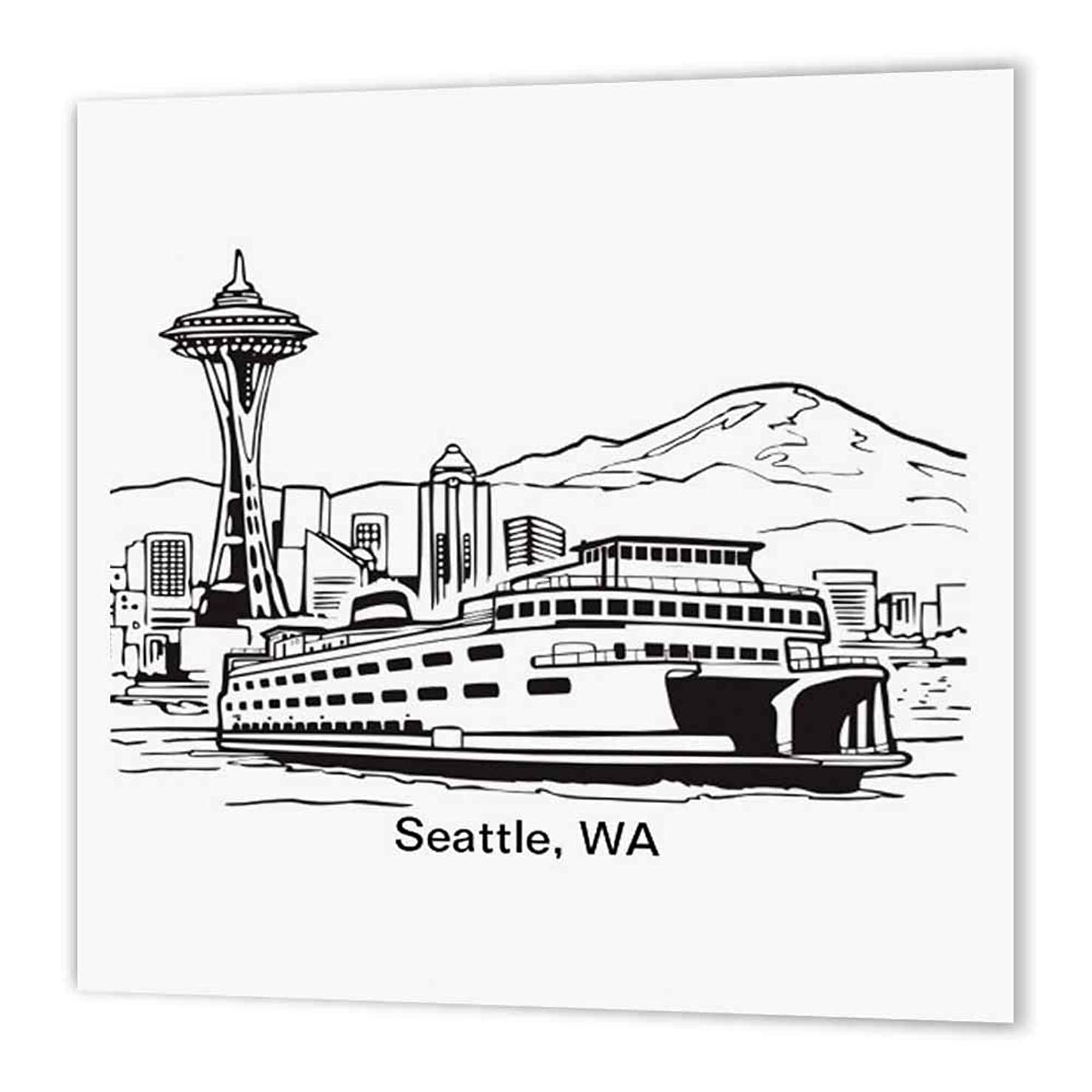 3dRose Seattle, Wa Ferry and Space Needle-Iron on Heat Transfer, 10 by 10